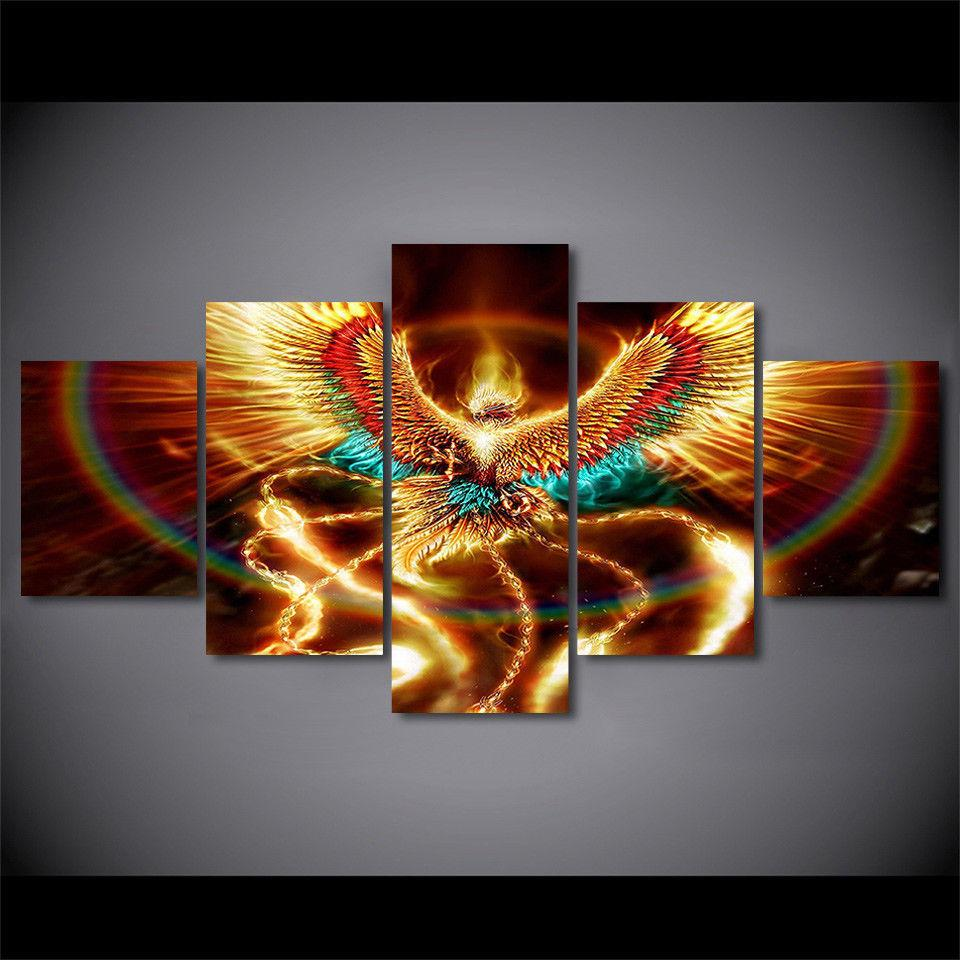 5 piece phoenix bird colorful rebirth canvas wall art paintings it make your day
