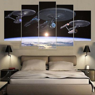 Framed 5 Piece Star Trek Enterprise Space Canvas Wall Art Paintings - It Make Your Day