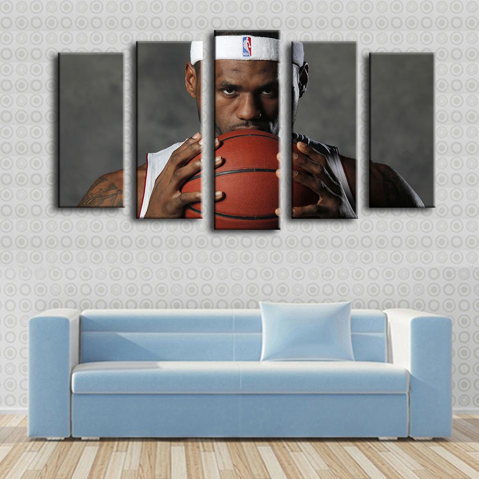 "5 Piece Lebron James ""King of the Court"" Canvas Painting Wall Art - It Make Your Day"