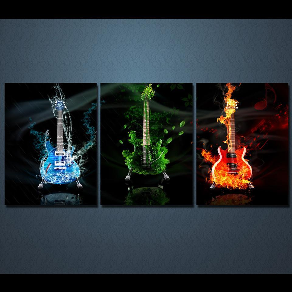 3 Piece Guitar Canvas Wall Art Sets - It Make Your Day