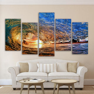 5 Piece Huge Ocean Waves in Sunset Canvas - It Make Your Day