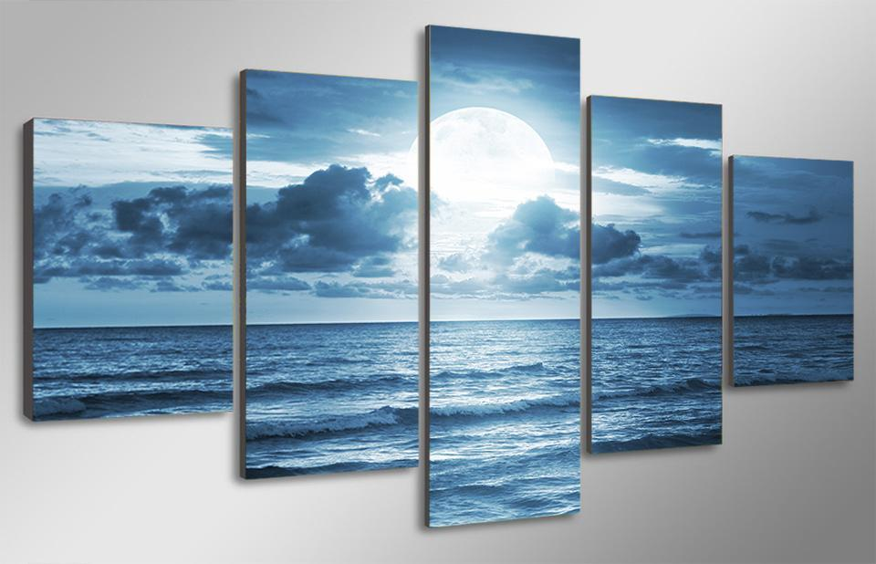 5 Piece Ocean Moon Light Canvas - It Make Your Day