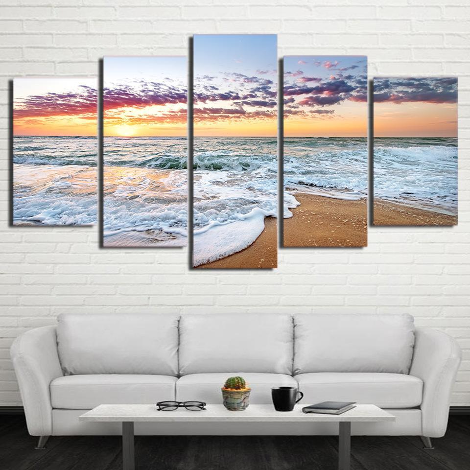 5 Piece Ocean Waves In Sunset Canvas - It Make Your Day