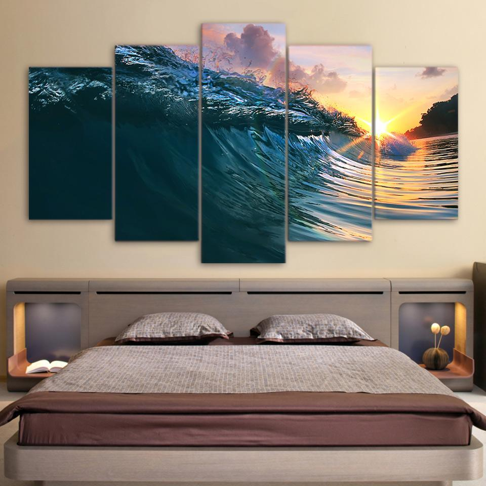 5 Piece Surfing Wave Ocean Canvas - It Make Your Day