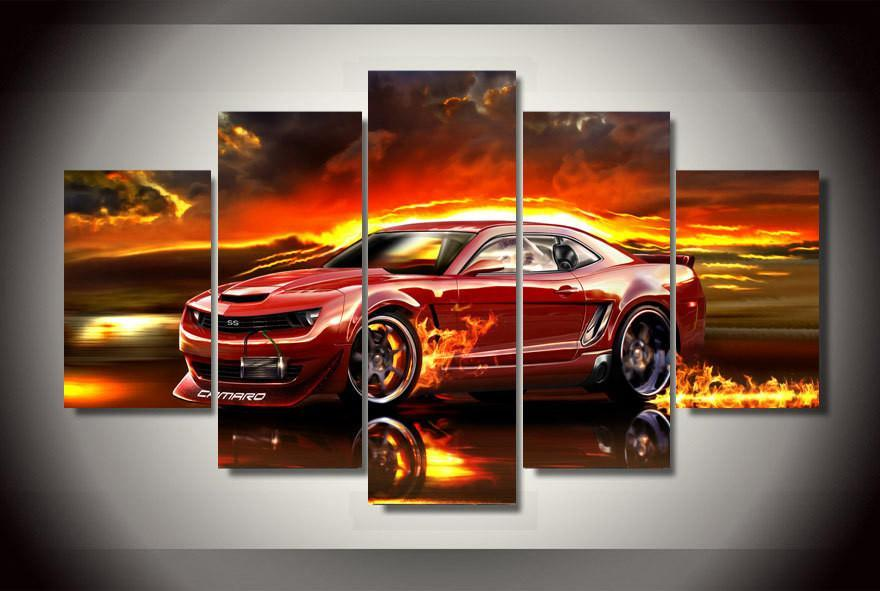 5 Pieces Limited Edition Red Hot Camaro Canvas - It Make Your Day