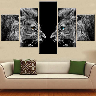 5 Piece Black and White Lion Canvas - It Make Your Day