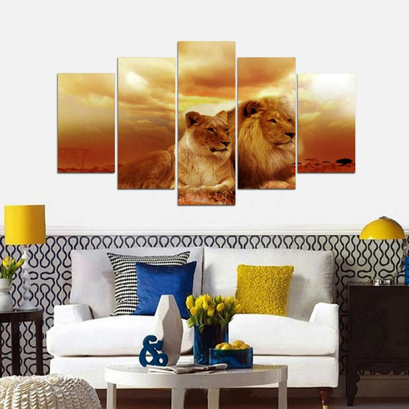 5 Piece Lions Couple Sunset Large Canvas Painting Nature - It Make Your Day