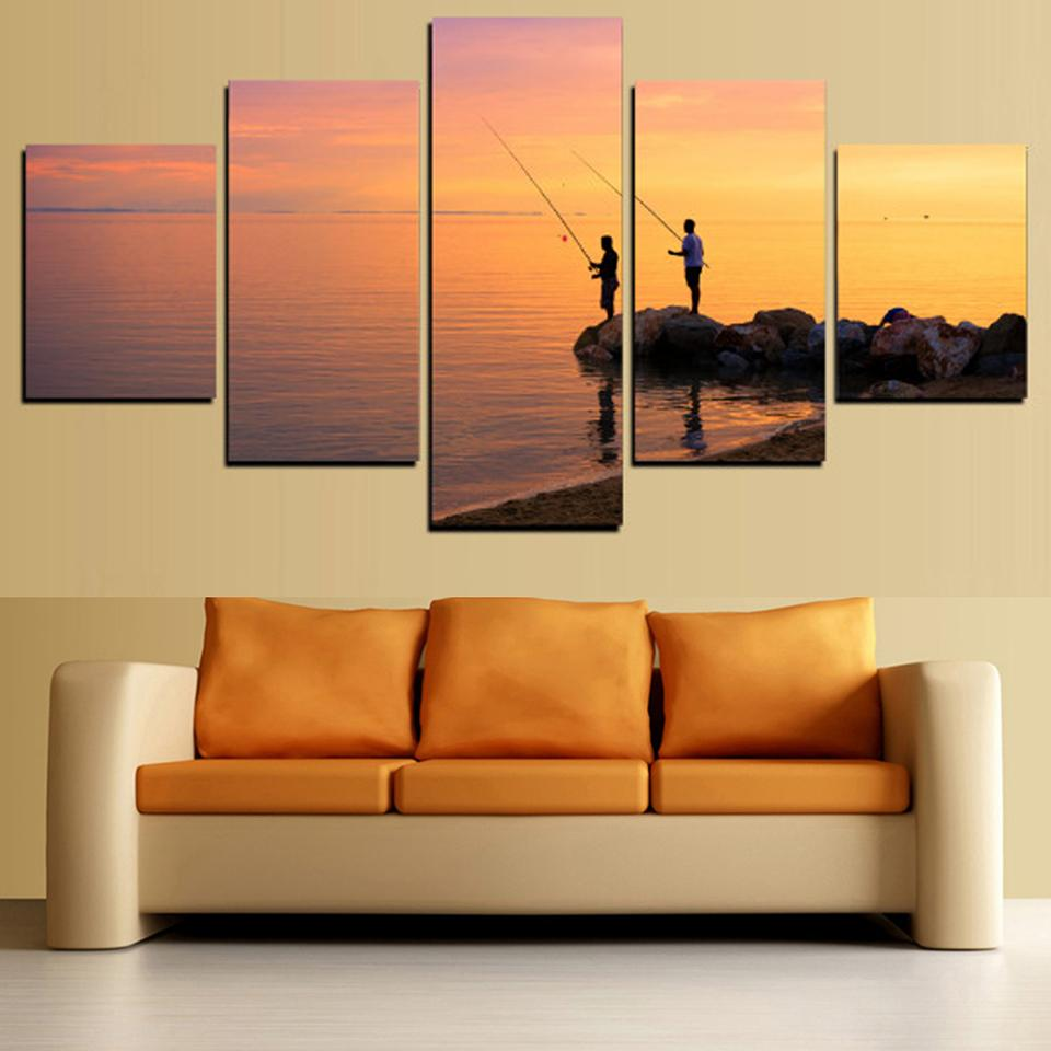 5 Piece Go Fishing Sunset Sea Canvas Wall Art Sets – It Make Your Day