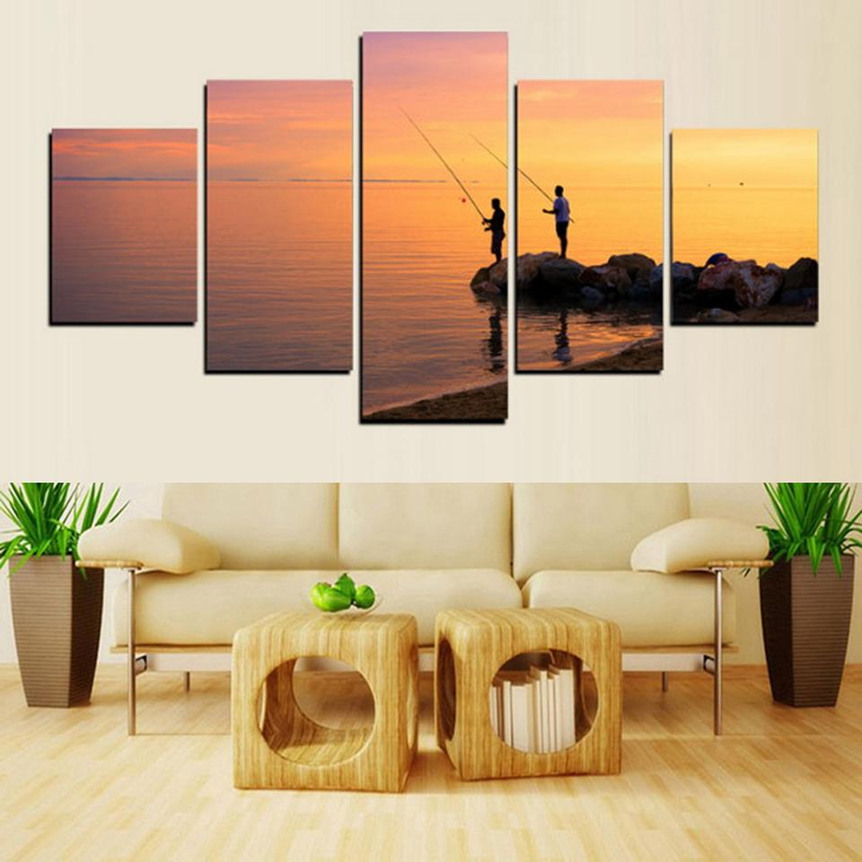 5 Piece Go Fishing Sunset Sea Canvas Wall Art Sets - It Make Your Day