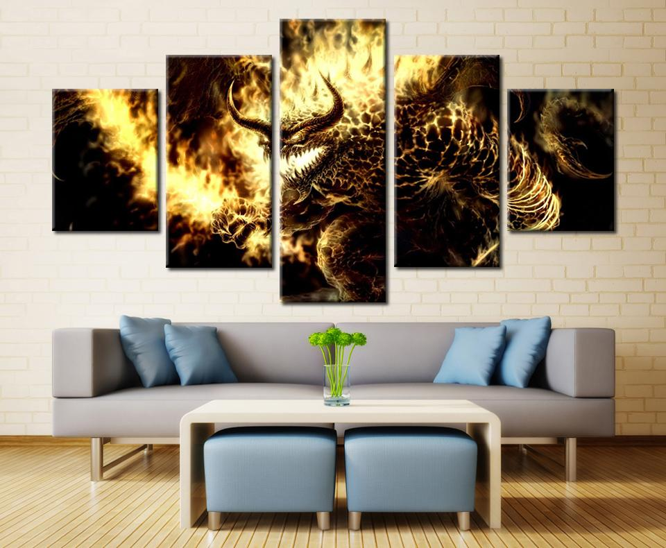 5 Piece Lord Of The Rings Balrogs Movie Canvas Painting Wall Art - It Make Your Day