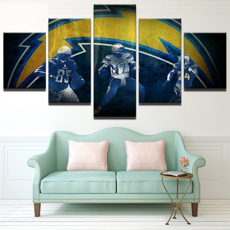 5 Piece Los Angeles Chargers Abstract Rugby Canvas Paintings - It Make Your Day