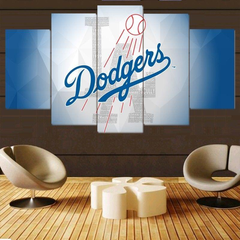 5 Piece Los Angeles Dodgers Baseball Wall Art Canvas Paintings - It Make Your Day