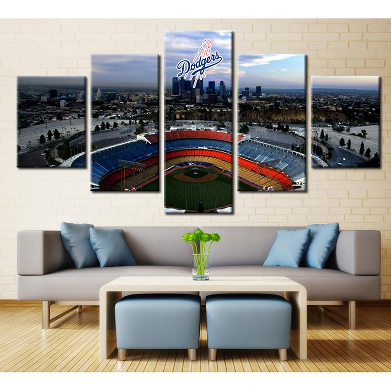 5 Piece Los Angeles Dodgers Stadium Logo Basketball Canvas Painting Wall Art - It Make Your Day