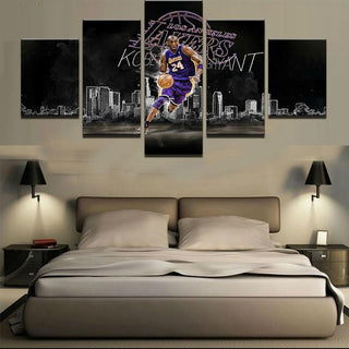 5 Piece Los Angeles Lakers Kobe Bryant Canvas Print Wall Art - It Make Your Day