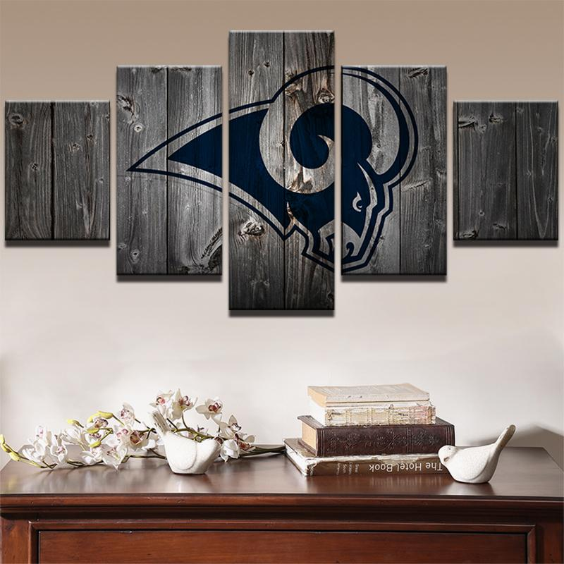 5 Piece Los Angeles Rams Logo American Football Canvas Painting Wall Art - It Make Your Day