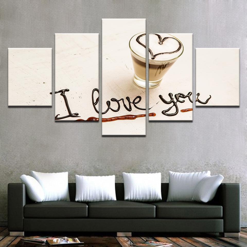Framed 5 Piece Coffee Collection - Love Macchiato Canvas - It Make Your Day