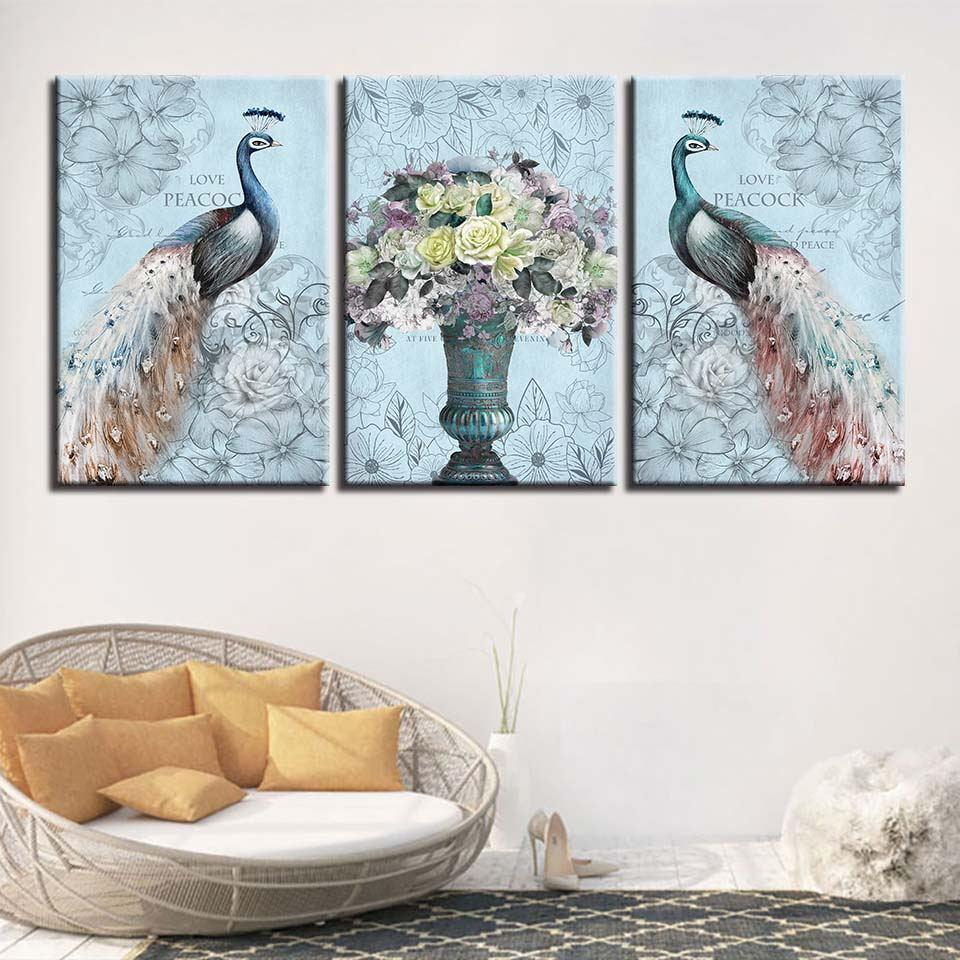 Framed 3 Piece Love Peacock Flowers Canvas - It Make Your Day