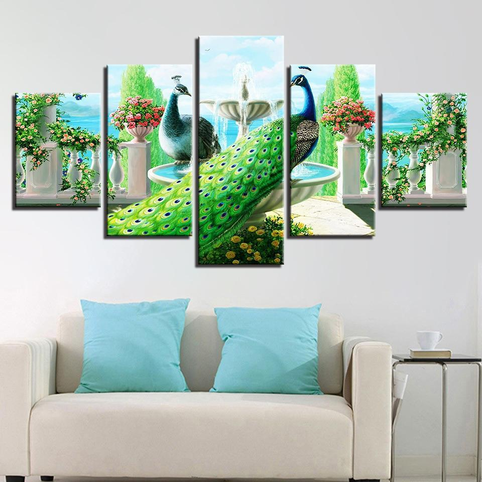 Framed 5 Piece Love in the Garden Peacock Canvas - It Make Your Day