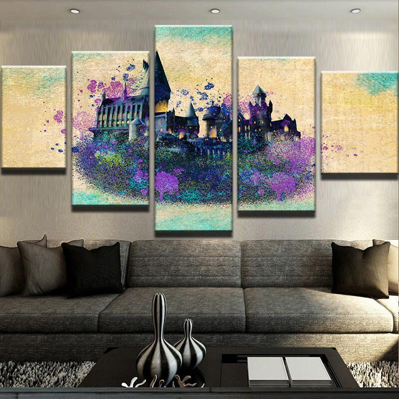 5 Piece Magic Castle Splash Canvas Wall Art Paintings - It Make Your Day