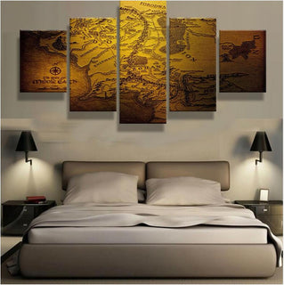 5 Piece Map Of Middle Earth Canvas Wall Art Paintings