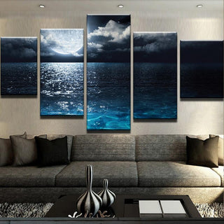 5 Piece Moonlight Canvas Wall Art Paintings - It Make Your Day