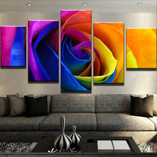 5 Piece Multicolor Rose Flowers Canvas Wall Art Paintings - It Make Your Day