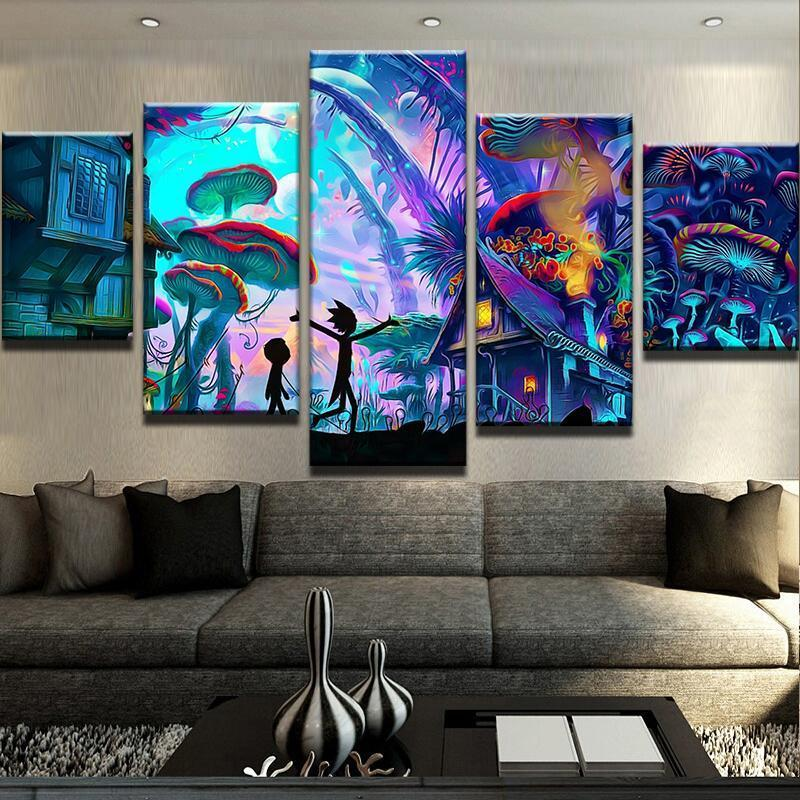5 Piece Mushroom World Rick and Morty Canvas Wall Art Sets - It Make Your Day