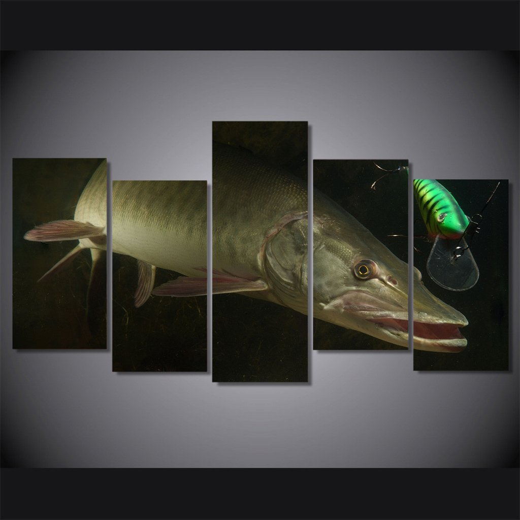 5 Piece Musky Fish Canvas Wall Art Sets - It Make Your Day