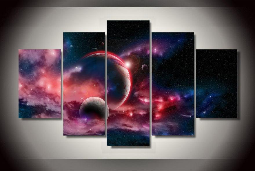 5 Piece Magical Space Universe Canvas Painting Wall Art - It Make Your Day