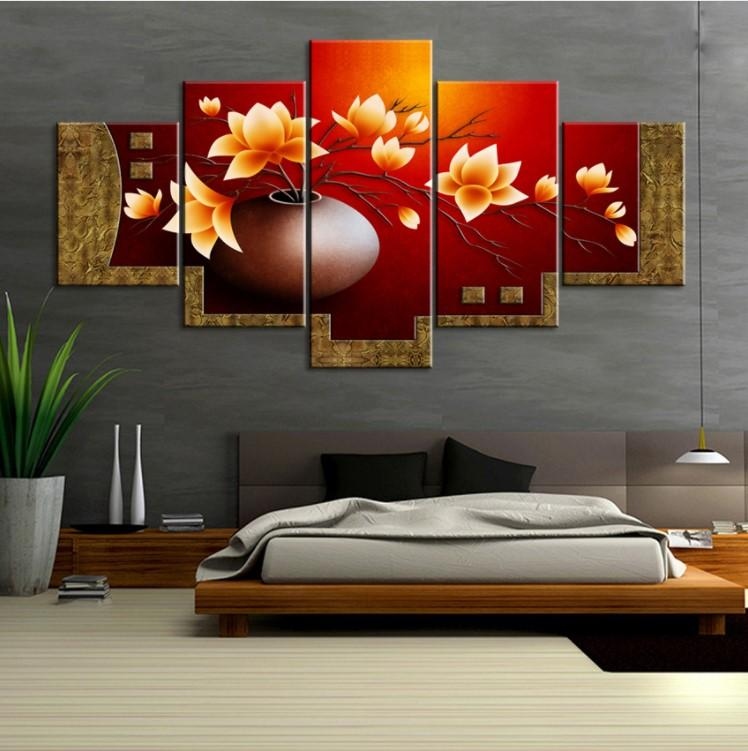 5 Piece Gold Magnolia Flower Vase Canvas - It Make Your Day