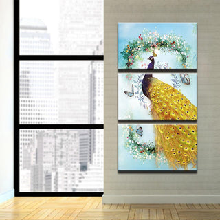Framed 3 Piece Majestic Peacock Canvas - It Make Your Day