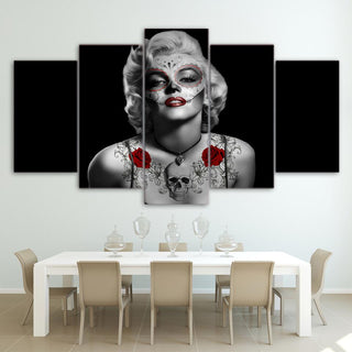 5 Piece Marilyn Monroe Tattoo Movie Canvas Painting Wall Art - It Make Your Day