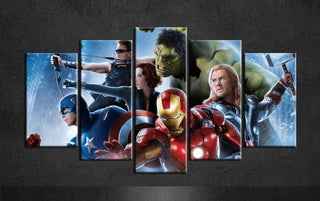 5 Piece Marvel Avengers Canvas Wall Art Sets - It Make Your Day