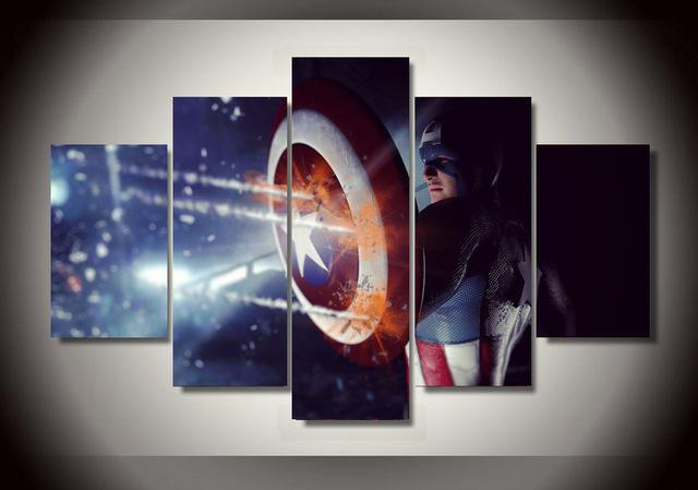 5 Piece Marvel Comics Captain America Canvas Wall Art Sets - It Make Your Day
