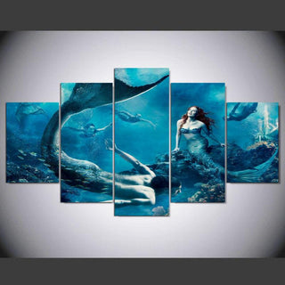 5 Piece Mermaid Male Female Blue Sea Canvas Wall Art Paintings - It Make Your Day