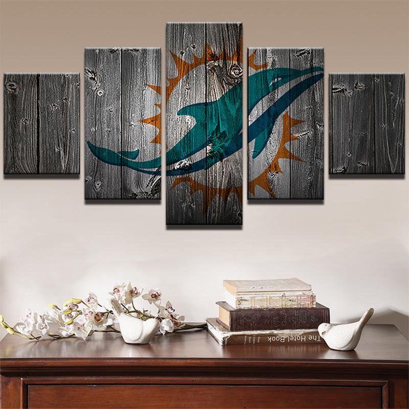 5 Piece Miami Dolphins American Football Canvas Painting Wall Art   It Make  Your Day