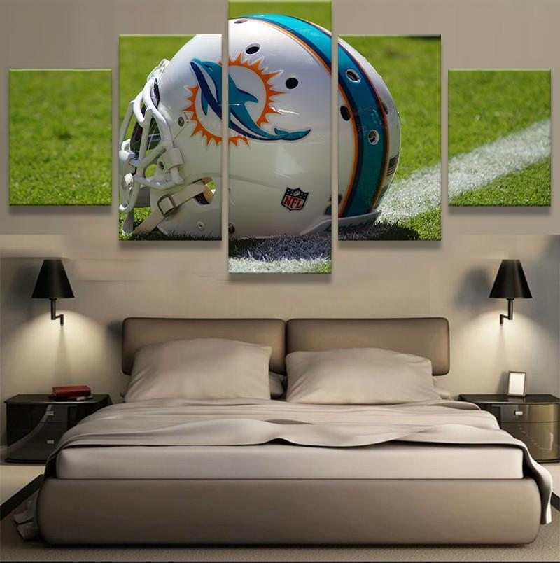5 Piece Miami Dolphins Helmet Canvas Paintings - It Make Your Day