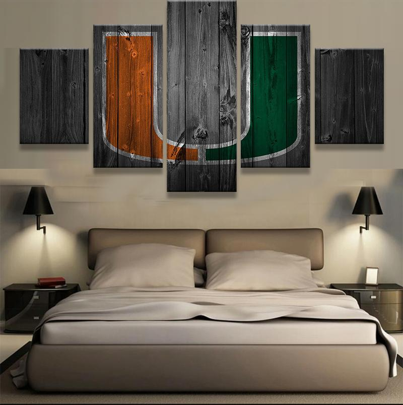5 Piece Miami Hurricanes Canvas - It Make Your Day