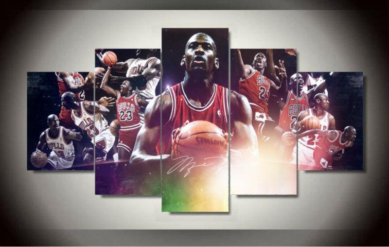 5 Piece Michael Jordan Basketball Canvas Painting Wall Art - It Make Your Day