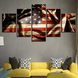 5 Piece Midnight American Flag Canvas Wall Art Paintings - It Make Your Day
