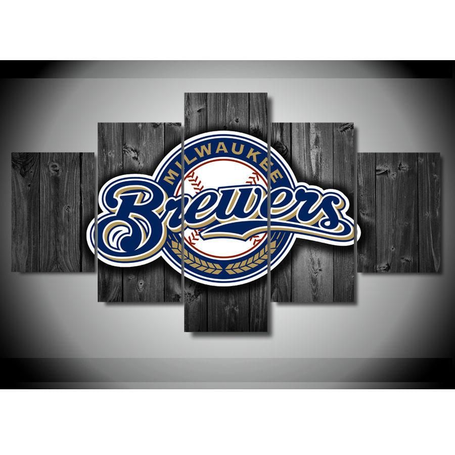 5 Piece Milwaukee Brewers Barn Wood Canvas Paintings - It Make Your Day