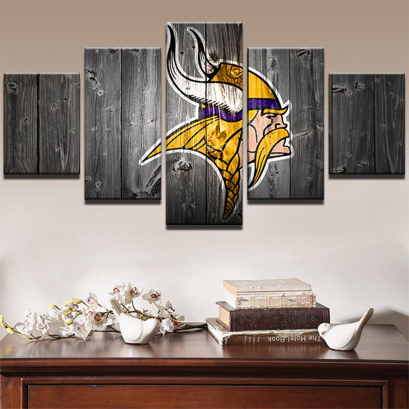 Delightful 5 Piece Minnesota Vikings American Football Canvas Painting Wall Art   It  Make Your Day