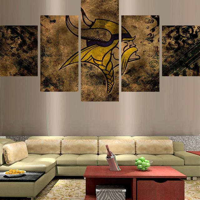 5 Piece Minnesota Vikings Wall Art Canvas Paintings - It Make Your Day