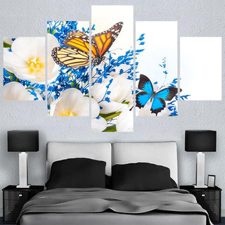 Framed 5 Piece Modern Abstract Butterfly Canvas Wall Art Sets - It Make Your Day