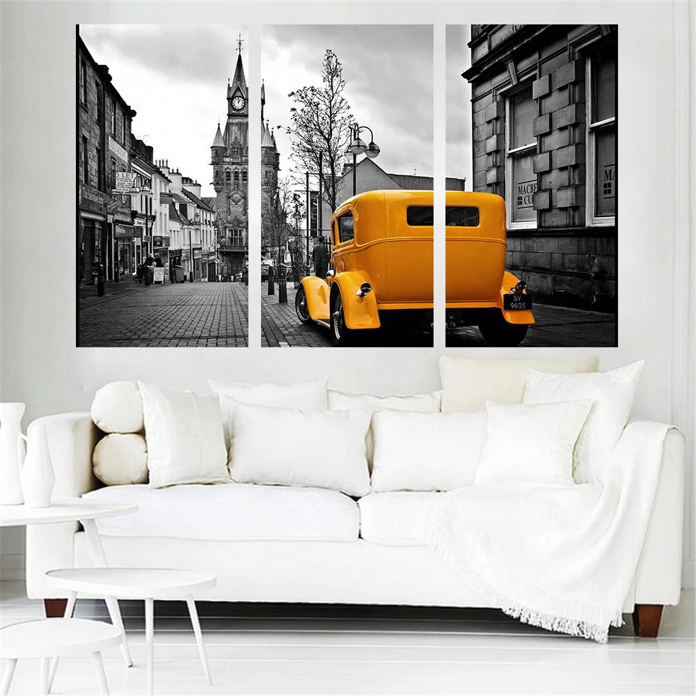 3 Piece London Road Scenery Oil Yellow Car Canvas - It Make Your Day