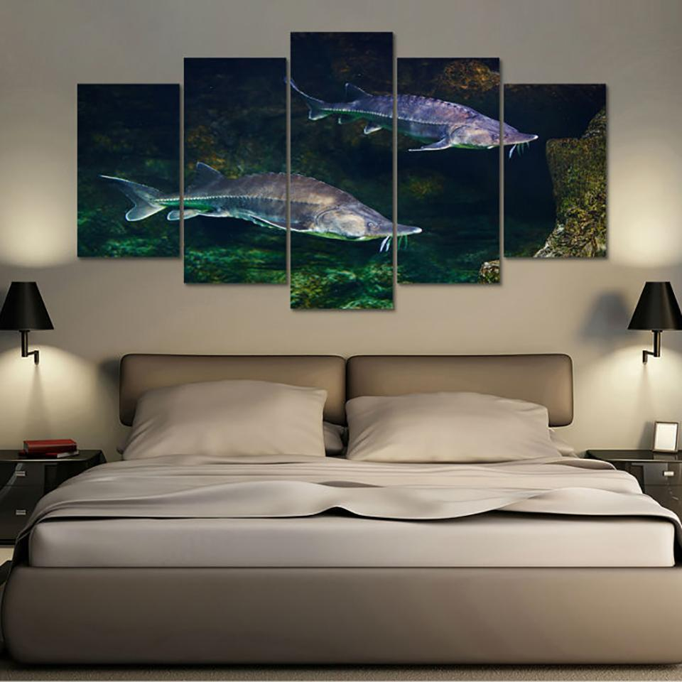 "5 Piece Sturgeon ""Great River Monster"" Canvas Paintings Wall Art - It Make Your Day"