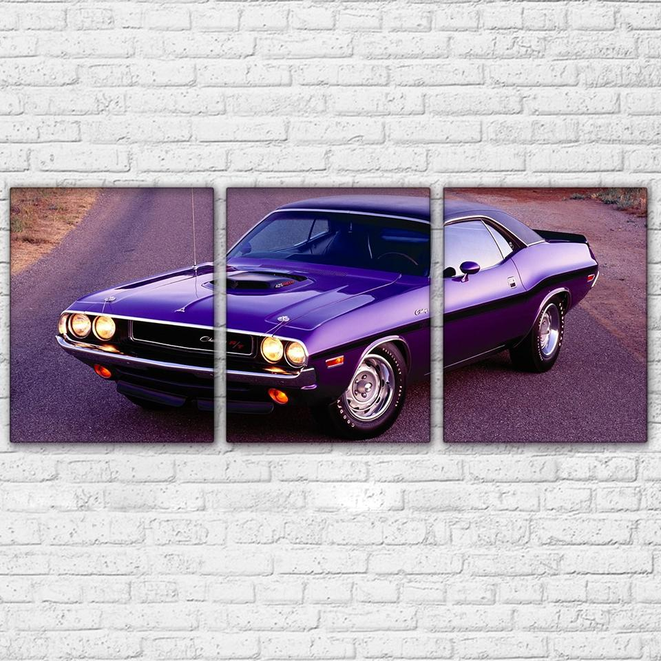 3 Panel Purple Luxury Sports Car Canvas - It Make Your Day