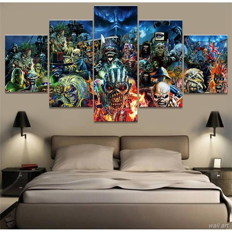 5 Piece Iron Maiden Music Band Punk Rock Canvas Wall Art Paintings - It Make Your Day