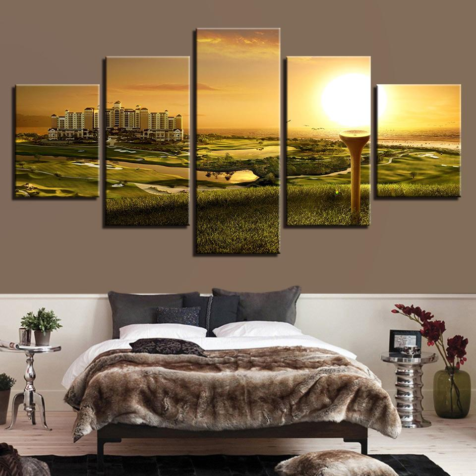 5 Pieces Golf Course Sunset Landscape Canvas - It Make Your Day