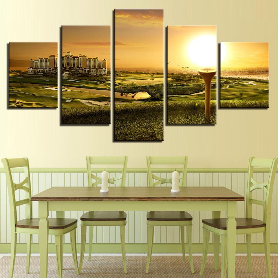 5 Pieces Golf Course Sunset Landscape Canvas Wall Art Paintings - It Make Your Day